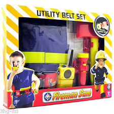 Fireman Sam Utility Belt Set Fancy Dress Up Inc Toy Walkie Talkie & Torch New