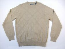PERRY ELLIS DIAMOND BEIGE KHAKI SMALL CREWNECK SWEATER MENS NWT NEW
