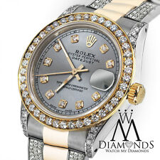 Women's 31mm Rolex Oyster Perpetual Datejust Custom Diamond Grey Color Dial