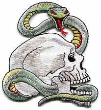 SKULL & SNAKE with red eyes EMBROIDERED IRON-ON PATCH **Free Shipping** -python