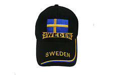 SWEDEN BLACK COUNTRY FLAG WITH COLORED STRIPES EMBROIDERED HAT CAP ..  NEW