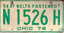 1974~OHIO~N1526H~SEAT BELTS FASTENED? LICENSE PLATE  TAG