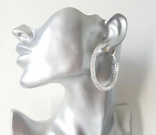 Beautiful 5cm large silver tone 2 row diamante - crystal  hoop earrings #31