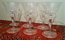 6 Thomas Webb cut crystal goblet wine cordial vtg english glass stemware flower