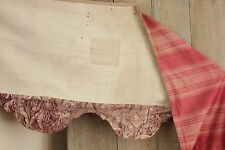 Antique French valance red furnishing fabric + purple Alsace Toile c 1830