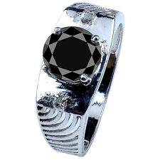 2.38 ct AAA BLACK MOISSANITE ROUND & REAL ROUGH DIAMOND MEN'S RING .925 SILVER