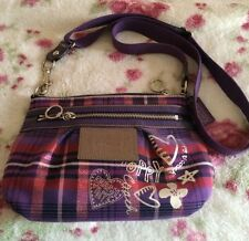 Coach Poppy Purple Tartan Plaid Crossbody purse