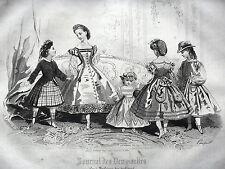 GRAVURE ANCIENNE MODE 19e - JOURNAL DES DEMOISELLES - AVRIL 1863 - NOIR ET BLANC