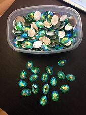 Sew On Stitch Turquoise AB 10x Jewel 18mm GEM CRYSTAL RHINESTONE trim DANCE