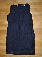 NWT Womens TIANA B. Black Lace Sleeveless Dress Size LARGE $98
