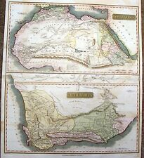 "Thomson's Map -1815- ""NORTH AFRICA & SOUTH AFRICA""(2 maps on one) - Hand-Colored"