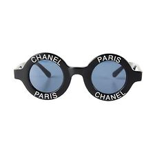 CHANEL MOST WANTED SUNGLASSES ROUND PARIS LOGO VINTAGE BLACK CC LOGO HALF TINT
