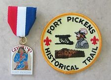 Vtg Boy Scout GERONIMO Fort Pickens TRAIL MEDAL & PATCH SET Award Badge Scouts