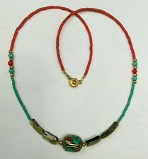 Afghan Coral, Malachite, Roman Glass, Nepal Pendant Tiny Seed Beads Necklace