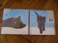 First Christmas Cute Black Kitten Cat 10 cards twin pack luxury cards glitter