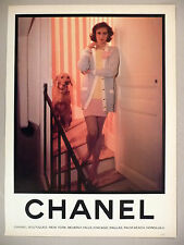 Chanel Boutiques PRINT AD - 1988 ~ woman at back staircase with dog