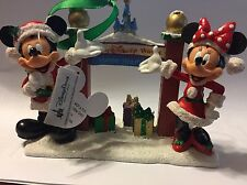 Disney World Main Gate Santa Mickey Minnie Mouse Figurine Christmas Ornament New