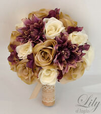17 Piece Package Silk Flower Wedding Bridal Bouquet TAN PLUM MAUVE RUSTIC BURLAP
