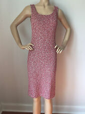 NEW  ST JOHN KNIT 14 WOMENS DRESS RED FIREFOX BLACK CREAM TWEED WOOL RAYON