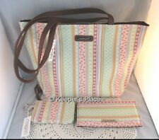 Longaberger Spring Parade Faux Leather Trim Tote Checkbook Cover Coin Purse New