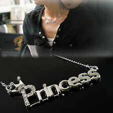 Letters 'Princess' With Crown Clavicle Chain Pendant Necklace Jewelry For Women