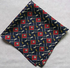 ROLLED SILK NEW MENS TOP POCKET SQUARE HANKIE HANDKERCHIEF NAVY RED GOLF CLUBS