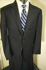 ERMENEGILDO ZEGNA SIZE 42R NAVY 2 BUTTON SUIT W/DUAL VENTS