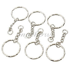 50Pcs Bulk Split Key Rings With Chain For Keyring Blanks Chains 4 Link Chain DIY