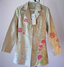 Tyler Boe Woman's Size 8 Spring Coat Jacket Beige Floral Silk Embroidered