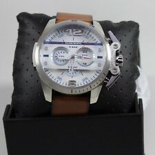NEW AUTHENTIC DIESEL IRONSIDE SILVER BROWN LEATHER CHRONOGRAPH MEN DZ4365 WATCH