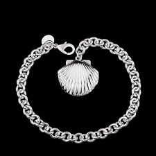 Women's Unisex 925 Sterling Silver Chain Sea Shell Charm Bracelet L64
