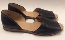 Crown Vintage Peep Toe Shoes Sandals Black Leather Sz 11 M