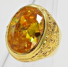 MEN'S RING SIZE 10 YELLOW SAPPHIRE 18K YELLOW GOLD FILLED FILIGREE CARVED EAGLE