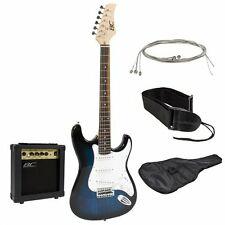 Full Size Blue Electric Guitar w/Amp, Case and Accessories Package -Entry Level