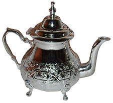 Moroccan Tea Pot Serving Handmade Fez Large Mint Green Tea Kettle Silver Tray
