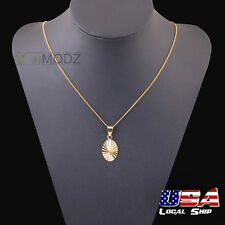 New 18k Yellow Gold Plated Mens Pendant With Oval Shape Scalloped Line Pattern