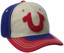 True Religion Mens Tufted Wool Horseshoe Blue/Red Baseball Cap Leather Strap Hat