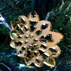 Mirrored Gold Fluffy Snowflake Christmas Tree Decoration - Pack of Ten