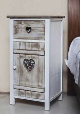 White Rustic Wooden Bedside Table Bathroom Cabinet Cupboard French Country Style