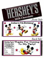 12 Mickey Mouse Clubhouse Birthday Party Baby Shower Hershey Candy Bar Wrappers