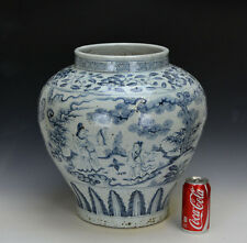 Superb Large Antique Ming Style Chinese Blue and White Figures Porcelain Vase