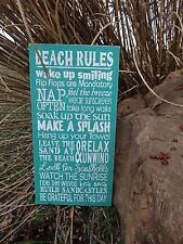 Rustic Shabby Cottage Chic Beach Rules Wooden Sign Decoration Decor blue