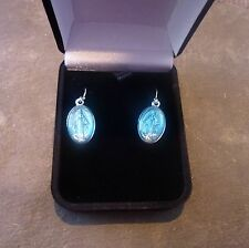 Miraculous Virgin Mary medal dangly earrings sterling silver hooks gift boxed