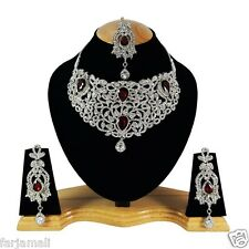 Desiner Silver Plated Zerconic Bollywood Necklace Set Jewelry Earring Tika DR004