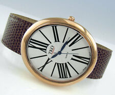 TKO ORLOGI Milano Rose Gold-Tone Oversized OVAL Brown Leather Slap WATCH