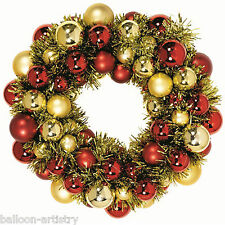 Christmas Party Gold Red Baubles Tinsel Wreath Door Wall Decoration