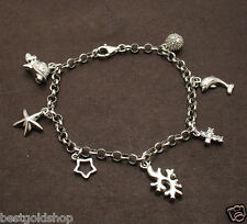 Italian Anti-Tarnish Charm Bracelet Real Solid 925 Sterling Silver Dolphin Star