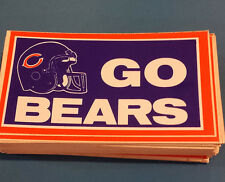 "90 Vintage CHICAGO BEARS ""GO BEARS"" Bumper Stickers NOS '80's Unused,Unpeeled"