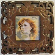 "Irish Celtic Shamrock Wood Carved Standing Frame for a 3"" X 3"" Photo Beautiful"