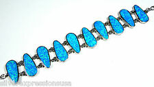 "Huge Blue Fire Opal Inlay 925 Sterling Silver Link Bracelet 7.25"" adjustable 8"""